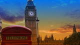 View of Big ben with orange and blue sky in slow motion