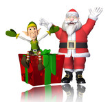santa and elf cartoon have a big present for you