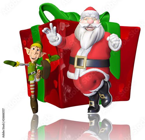 santa and elf cartoon dancing