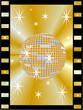 Goldene Diskokugel im Filmstreifen