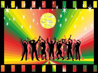 Menschen  im Fimlstreifen unter Diskokugel am tanzen