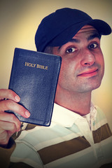 Senior Christian Holding His Holy Bible