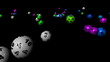 3d animation of balls with numbers falling and rolling