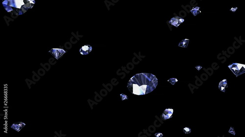 Sparkling diamonds falling down against black background