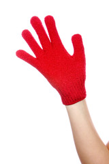 Young Woman Wearing Exfoliating Glove. Model Released