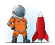 astronaut whith a rocket - 26668743