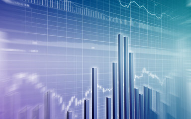 Stock Market Graph with bar Chart on blue background