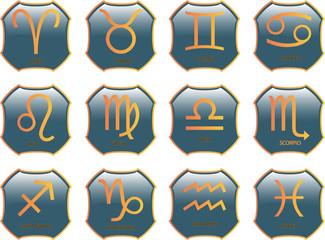 zodiac buttons - vector