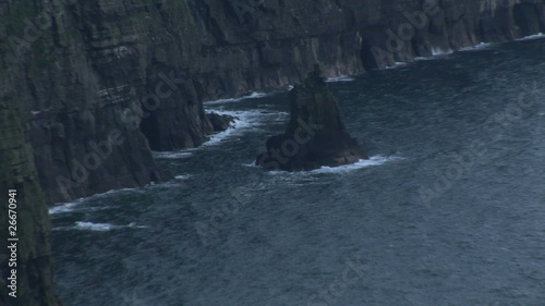 Zoom out of the Cliffs of Moher by night