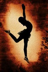 Dancer over Grunge Background