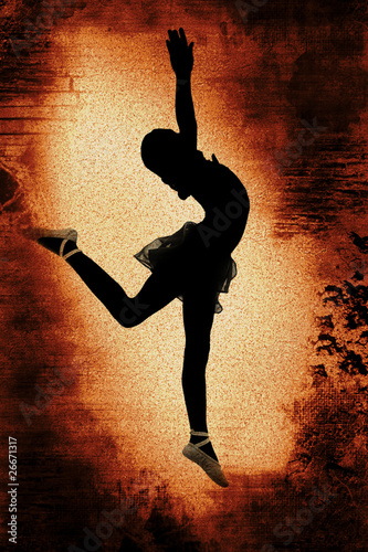 Dancer over Grunge Background