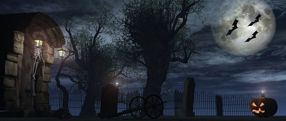 Friedhof, Kürbis, Halloween