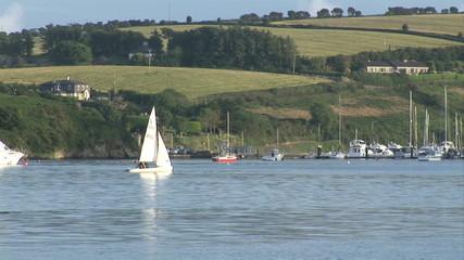 Sailboat arriving in a marina