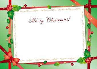 クリスマスカードと赤のリボン グリーンバック