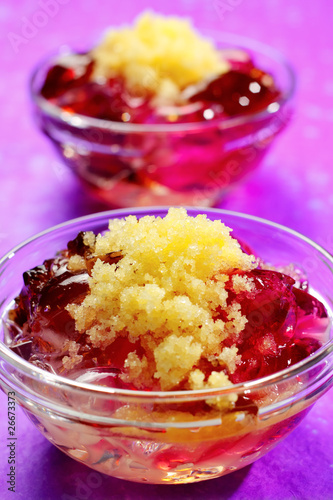 Jelly with lemon sorbet