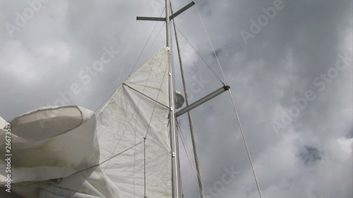 Below view of a mast in a yacht at day