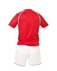 Red football shirt with white shorts