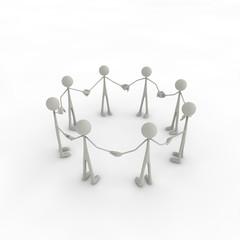 Figurengruppe steht im Kreis