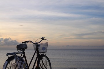 old bicycle with twilight sky