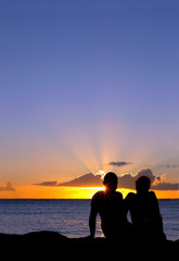 Romantic Vacation Image Of Couple At Sunset
