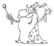 Outlined Wizard Waving And Cape Holding A Magic Wand