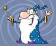 Happy Wizard Waving And Cape Holding A Magic Wand