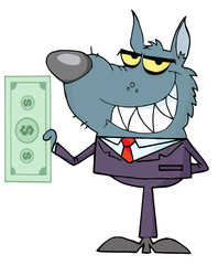 Smiled Wolf Business man Holding Cash