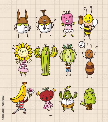 数字昆虫树叶活人画清洁的漫画现代番茄简单绘制背景花花园餐厅艺术