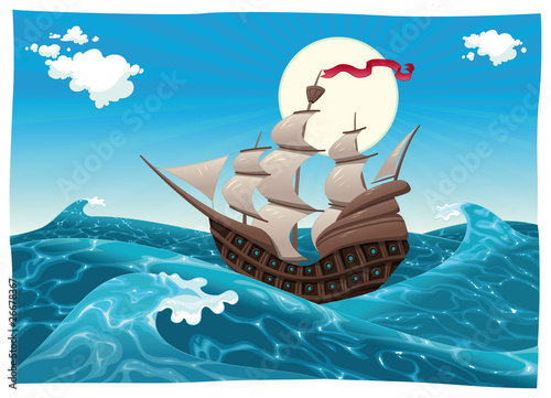 Galleon in the sea. Vector illustration, isolated objects