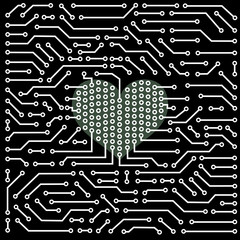 Close up of computer circuit board and heart shape
