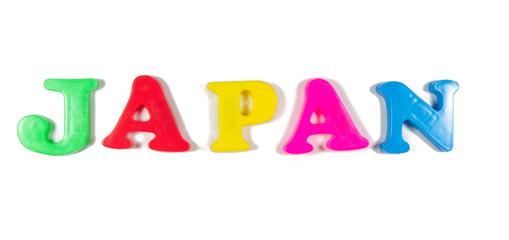 japan written in fridge magnets