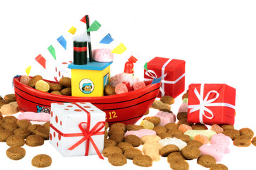 Traditional dutch:steamboat from santa claus with presents