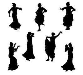 Flamenco - vector silhouettes