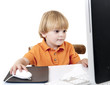young boy with desktop computer