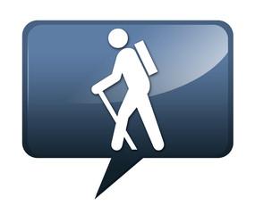 "Speech bubble shaped icon ""Hiking"""