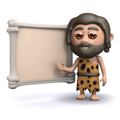 3d Caveman with sign