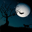 Ominous moon night with silhouettes of the tree, cat and bats