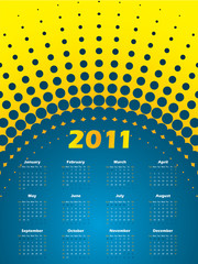 Halftone 2011 calendar in blue and yellow