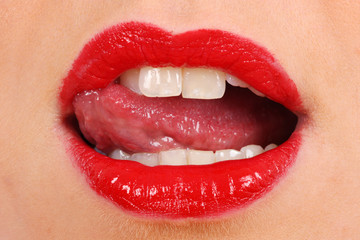Woman Licking Lips. Model Released