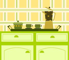 vassoio con caffè in cucina