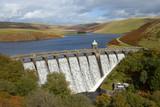 Craig Goch reservoir with water overflowing, Elan Valley, Wales.