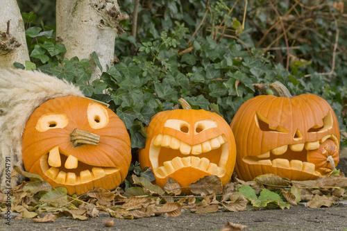 drei halloween k rbisgesichter stockfotos und lizenzfreie bilder auf bild 26694791. Black Bedroom Furniture Sets. Home Design Ideas