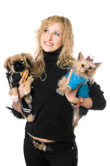 Portrait of happy young blonde with two dogs