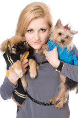 Portrait of lovely blonde with two dogs