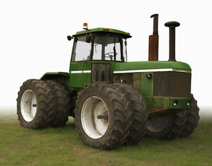 green and white tractor