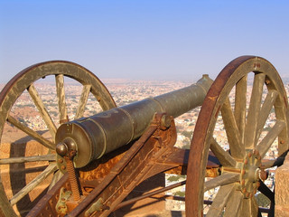 Ancient cannon on fort in India