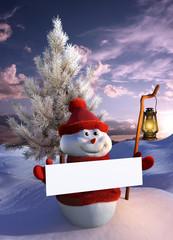 Pupazzo di neve con cartello bianco e lanterna