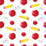 Apples and Pencils Seamless Tile
