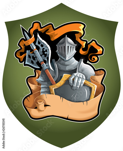 Heraldic composition with the knight in full armor, vector