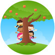 Kids playing peekaboo, hiding on big apple tree